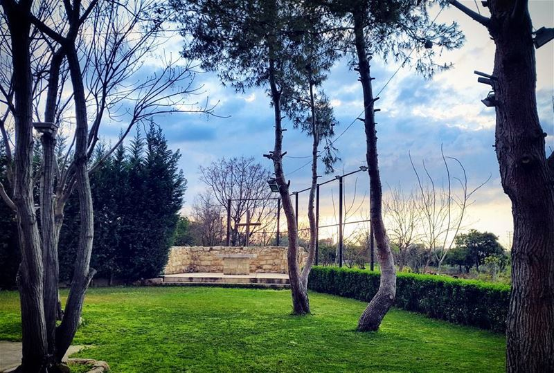 sunset  blue  sky☁  green  grass  trees🌲  beauty  natureloversgallery ... (Zgharta)