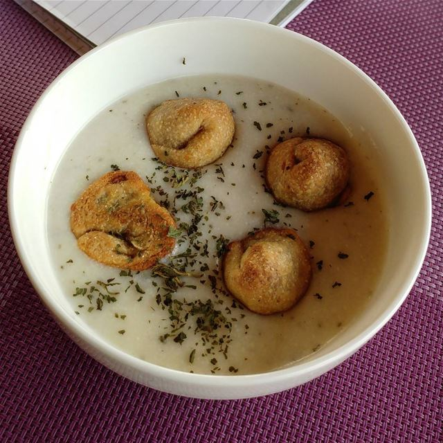 Non-traditional but yummy this is shish barak, dumplings in a yogurt/almond (Kfarkatra / Chouf)