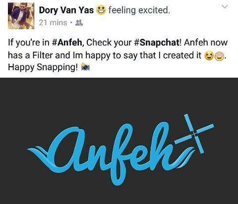 If you're in Anfeh, Check your Snapchat! Anfeh now has a Filter 😍😍😍 ...