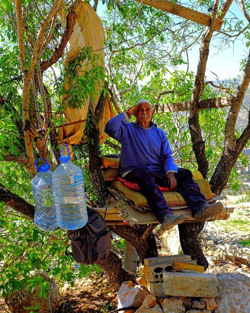 The Old Man in the Tree. He tells us his name is Abu Dahab, the Father of... (Hasbaya)