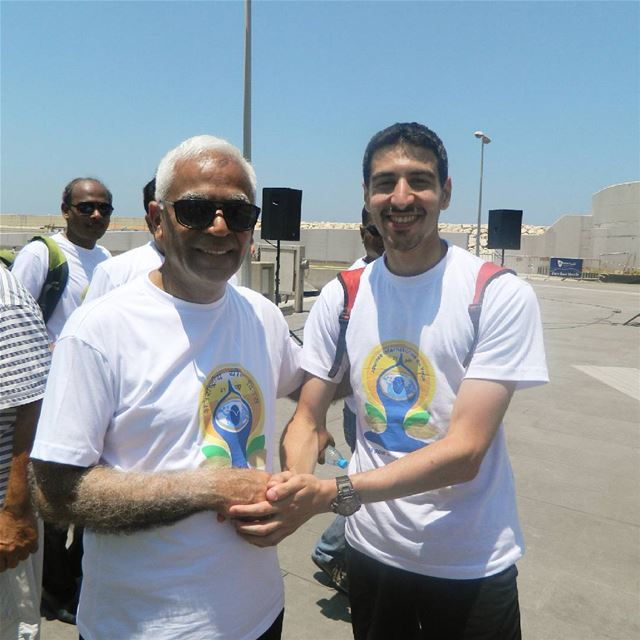 With the Indian ambassador at the 3rd international yoga day@sreeyoga it... (Beirut, Lebanon)