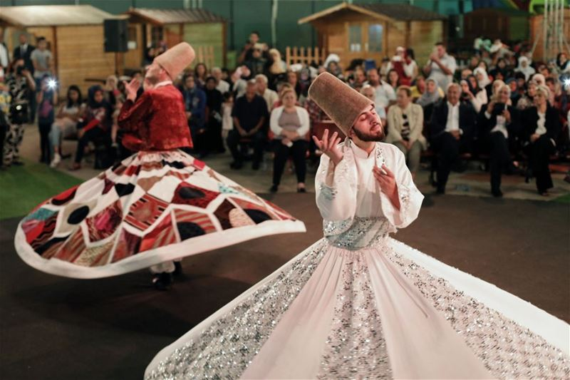 Whirling dervishes perform during Ramadan, in Beirut, Lebanon. (Anwar Amro / AFP)