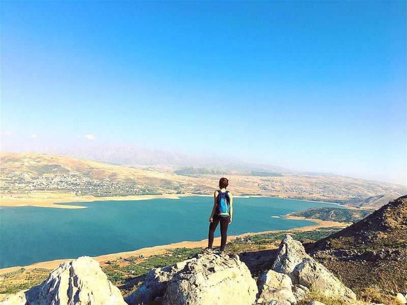 Do more than just Exist.. 💙 moutain  top  lake  view  sunset  climbing ... (Saghbîne, Béqaa, Lebanon)