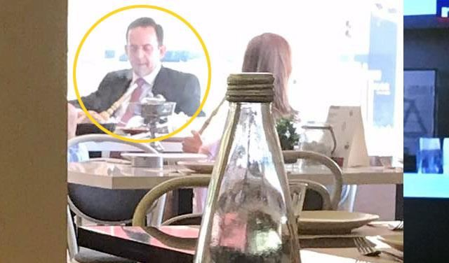 Lebanese Tourism Minister Avedis Guidanian Smoking Arguileh in a Closed Space in a Restaurant in Ashrafieh