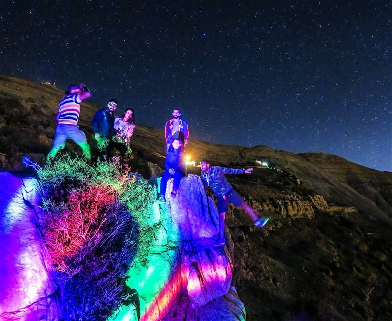 Colorful night! ⭐ cliff  night  stars  meteors  deltaaquarids  colors ...