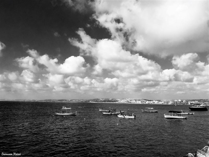 blackandwhite  monochrome  sea  clouds  boats  nostalgia  tyr ...