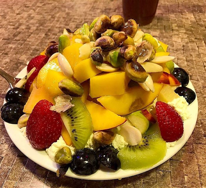 Summer Fruits and kashta craving. eatwell  fruitsalad  fruit  lebanoneats...