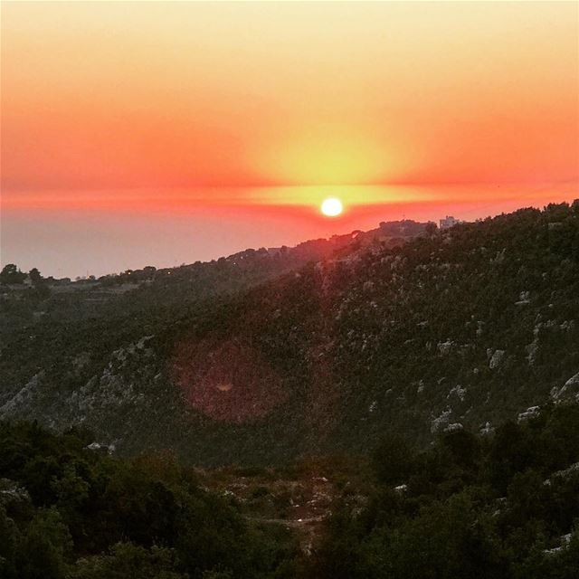 lebanon mountlebanon mountain mountains valey sun sunset sky orange sea... (Achkoute, Mont-Liban, Lebanon)