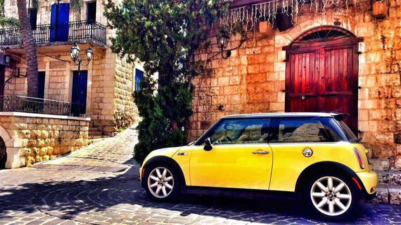 mininorthlebanon  minicooper  yellow  tired  village  retro  vintage ... (Zouk Mikael)
