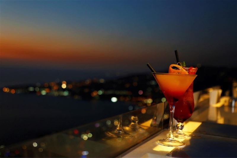Sunsetting 🌅🍸 AtTheTop  CraftCocktails  NightSky  BeautifulSunsets ... (The Terrace - Restaurant & Bar Lounge)