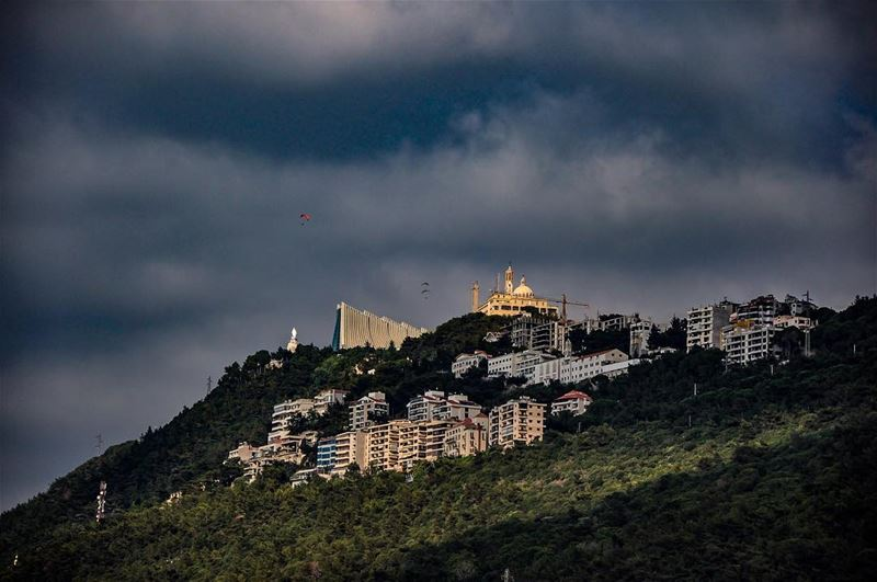 Winter is coming.   goodmorning  winter  clouds  rain  harissa  lebanon ... (The Lady of Lebanon - Harissa)