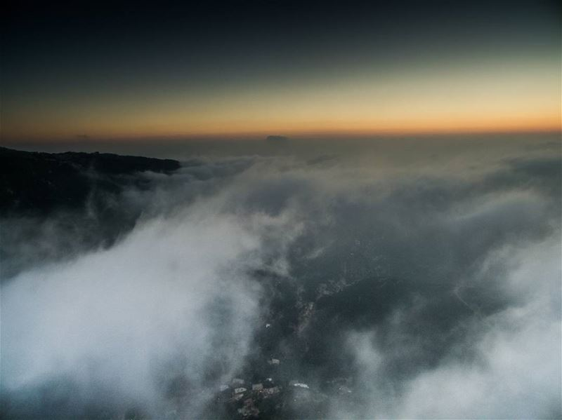 When my drone is high above the clouds and towards sunset ........... (Hiyâta, Mont-Liban, Lebanon)