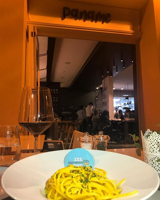 Spaghetti with Saffron for dinner @panamebeirut My new favorite place in ... (Paname)