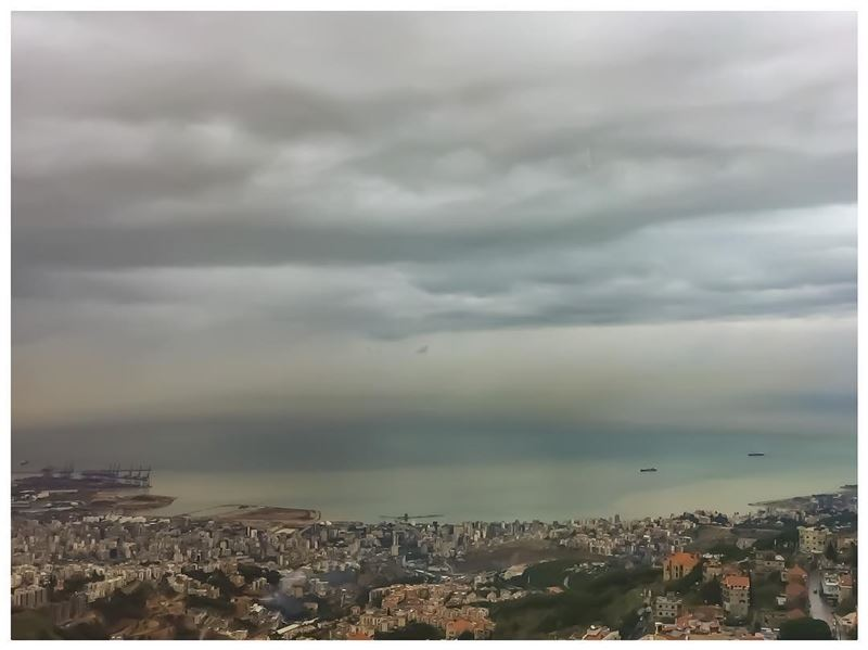 Lunch over the city of  beirut two days ago.  landscape  mountain  sea ... (Al Bustan Hotel)