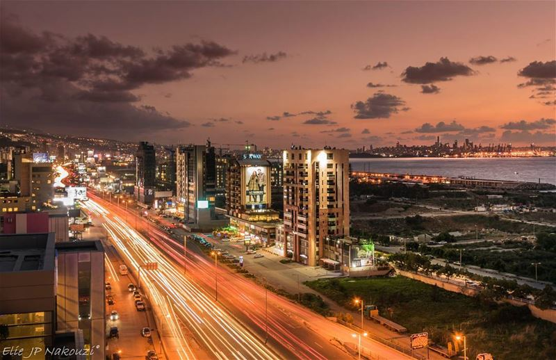 The extra mile.. nikon  photography  night  lights  city  highway ... (Dbayeh, Mont-Liban, Lebanon)
