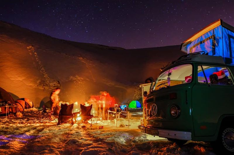 Warm White snow  snowcamp  camping  vwcamper  winter  bonfire  lebanon ...