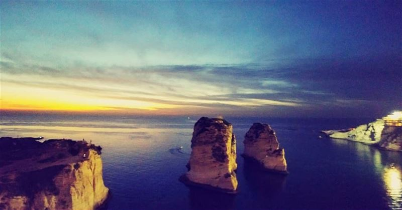 rockingthesunset 🌅... raouche  rock  sunset  colors  sea ...