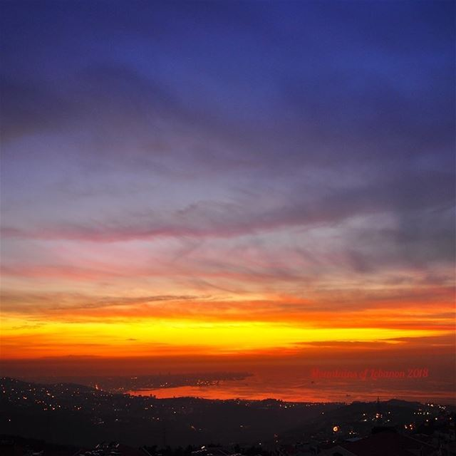 Just another mid Winter Sunset over Beirut... sunset  epicsunset ... (Ballouneh, Mont-Liban, Lebanon)