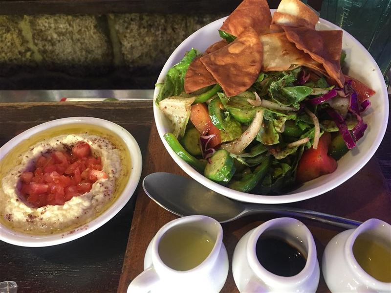 "Lebanese food , ""Fattoush"" with "" Baba Ghannouj"" , best combination to..."