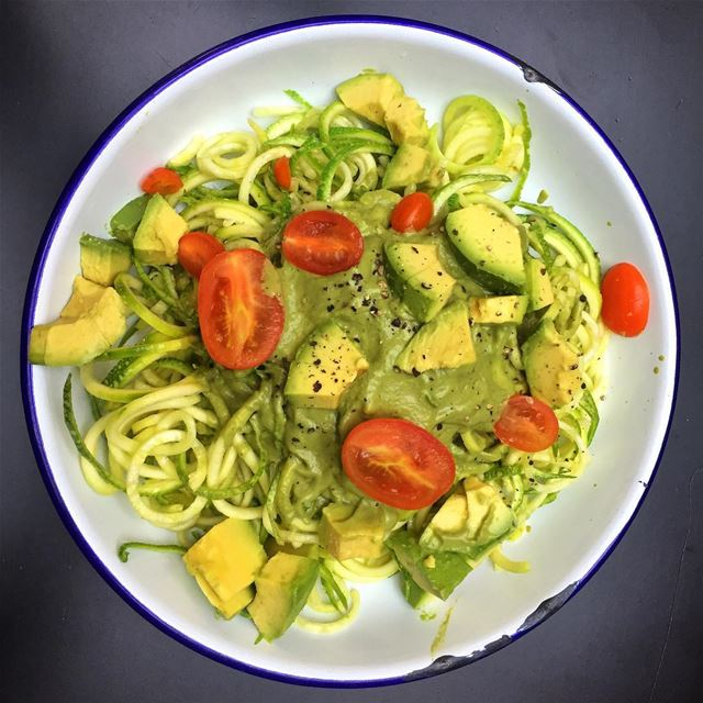 "How about some ""Zoodles"" for lunch spiralized zuchinni noodles with... (Beirut, Lebanon)"
