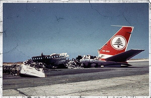 Good morning Beirut. An MEA wrecked plane bombed by the Israeli army sits...