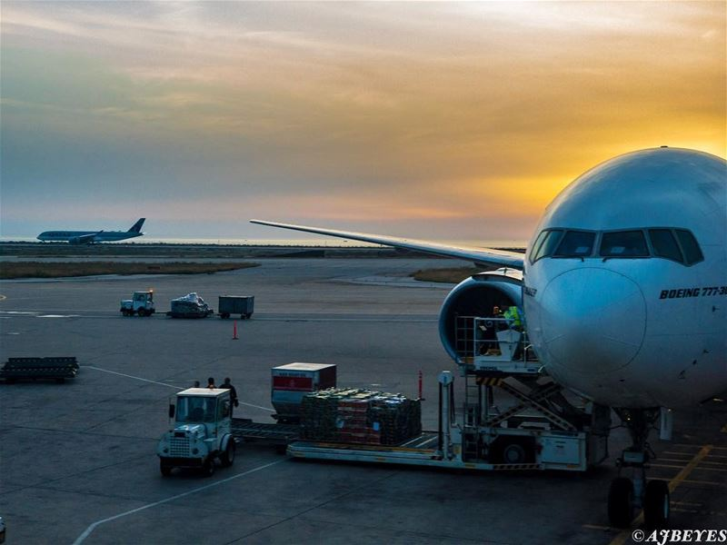 Traveling at sunset.   vacationisover  vacation  travel  travelgram ... (Beirut–Rafic Hariri International Airport)