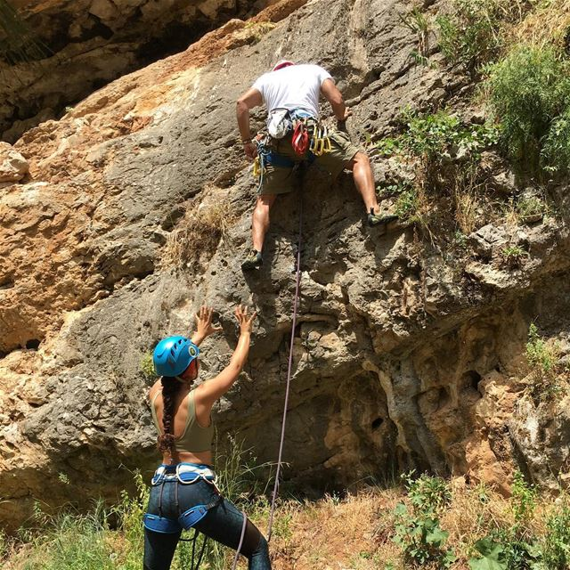 Remember to spot your climber before he clips to the first bolt!... (Baabda District)