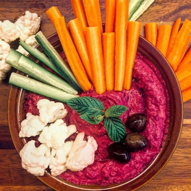 My Homemade Beet Hommos (Hummus) made with chickpeas, roasted beets,... (Lebanon)