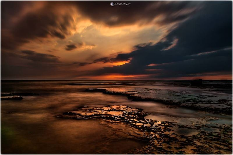 A sunset composition in partially cloudy conditions. Timining in seascape... (Byblos - Jbeil)