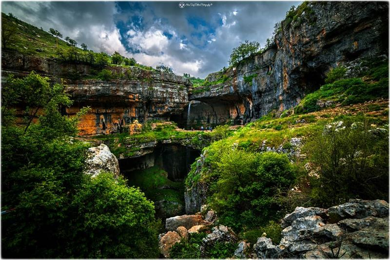 A composition in the Lebanese nature, of an attractive massive Grotto and... (Bâloûaa Balaa)