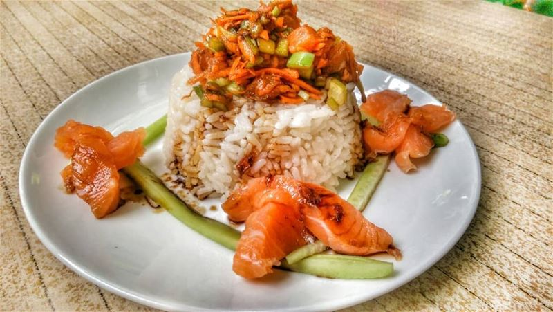Salmon with Veggies over Rice and Bazella w Riz for lunch today at Em's!... (Em's cuisine)