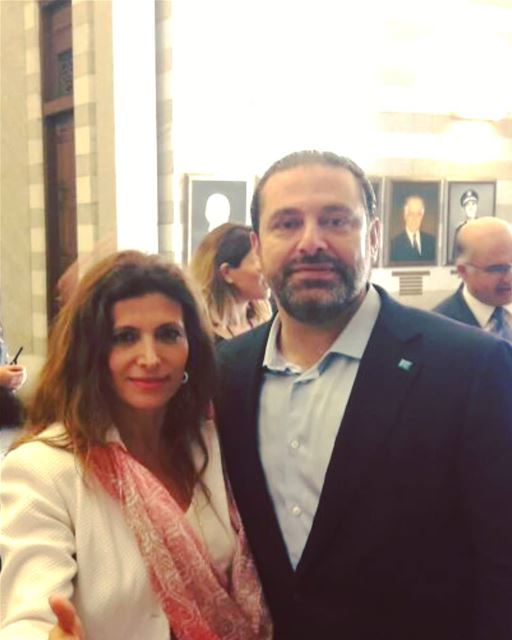 With prime minister Mr Saad Hariri at the Grand Serail at the launching of... (Grand Serail)