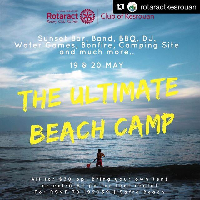 ✨ Find us there on Sunday May 20th! ✨ Repost @rotaractkesrouan with @get_r (Safra Beach)