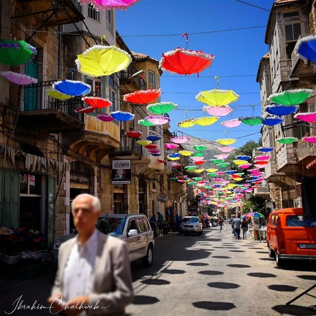 Umbrellas of the mountain -  ichalhoub in Hasroun north  Lebanon shooting...