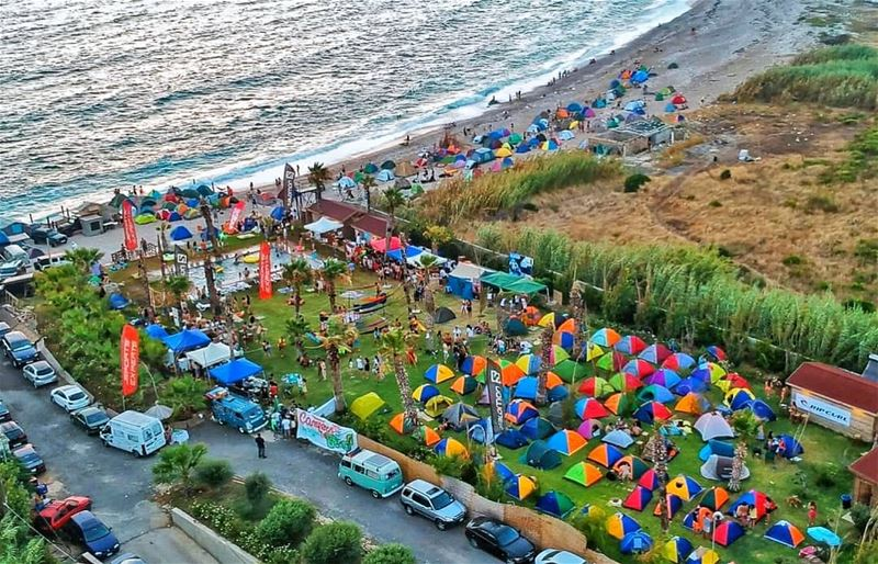 Campers at the beach is to date the biggest Camp event made in Lebanon... (Batroûn)