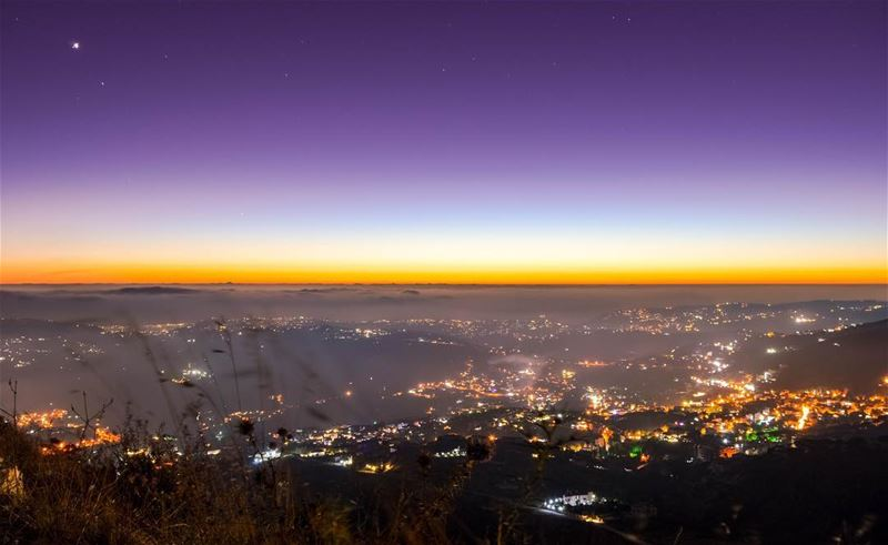 Sunset twilight beirut citylights mountains nature landscape... (Falougha, Mont-Liban, Lebanon)