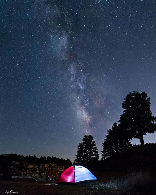 How was your weekend ? 🌌⛺️..... milkyway milkywaygalaxy... (El Qâmoûaa, Mont-Liban, Lebanon)