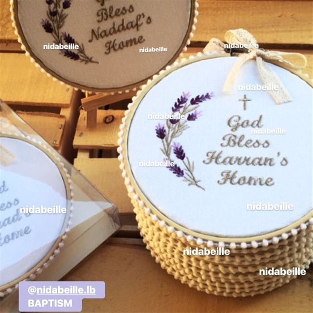 God bless our home 🌾Baptism favor! Write it on fabric by nid d'abeille....