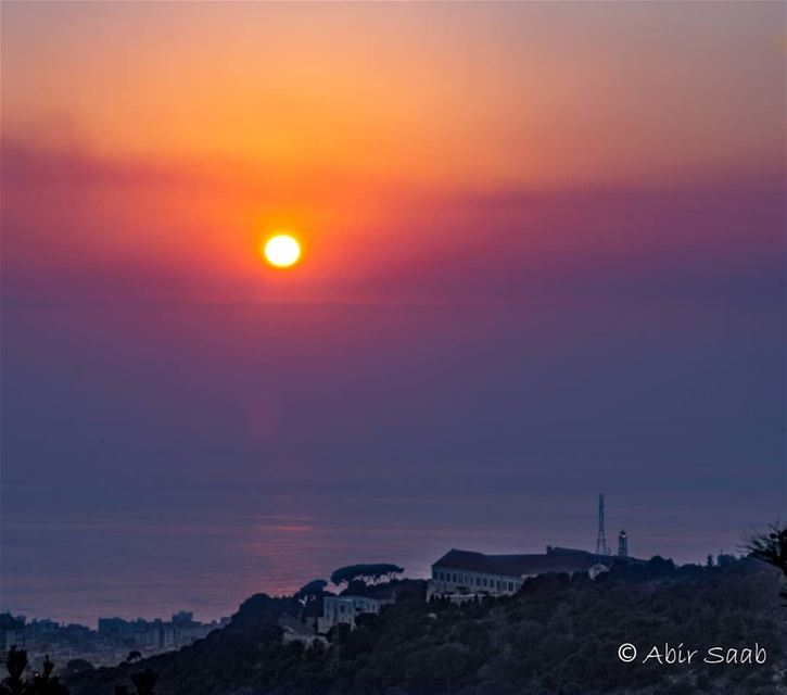Sunset over Bkerke ... lebanon  bkerke  sunset🌅  sunset_vision ... (Bkerké)
