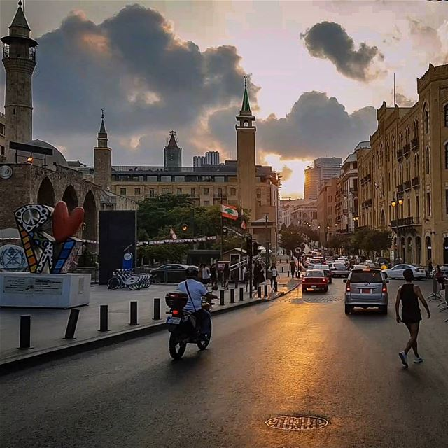 Everybody moves..Everything changes,,Even These August grey clouds will... (Downtown Beirut)