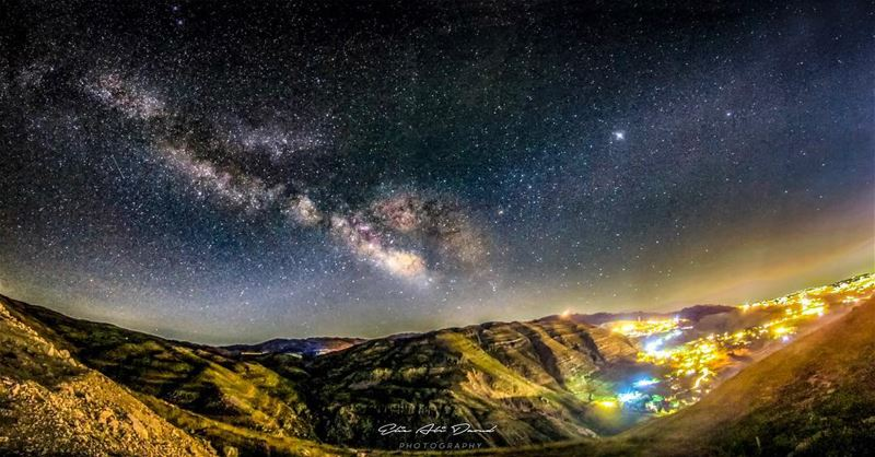 Those summer nights 😍  sky  stars  milkyway  lights  mountains  valley ...