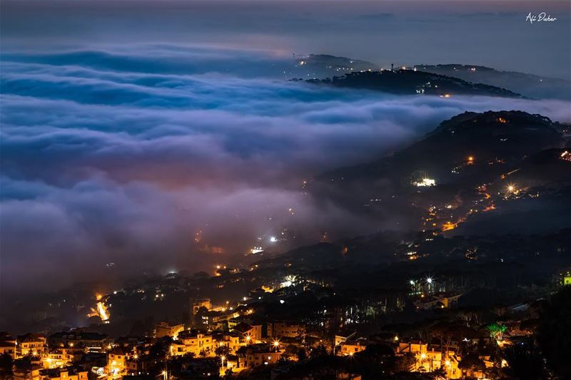 Foggy night ☁️✨...... sunset sunsetpics landscape... (Lebanon)