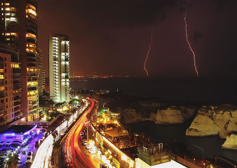 Stormy night 😊 have a great... (Beirut- Al Rawsheh)