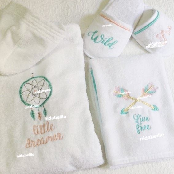 Wild & Free ☁️ Order your linen set! Write it on fabric by nid d'abeille ...