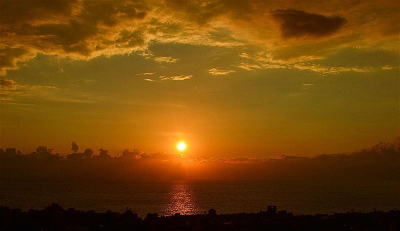 Bluesy 🌞 byblos  lebanon  sunset  city  sea  sky  clouds  mood  bluesy ... (Byblos, Lebanon)