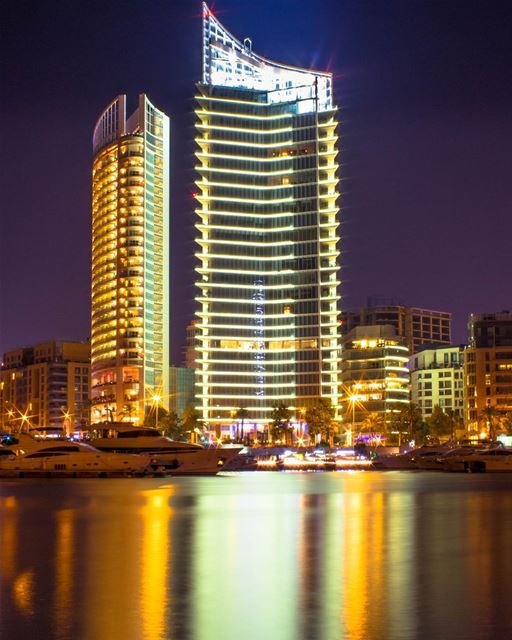 Beirut City lights longexposure night photography landscape nature... (Zaitunay Bay)