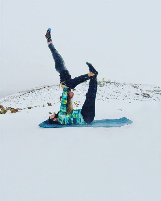 Life Is All About Balance...   acroyoga  snow  acroyogafun   snowfall ... (Snowland)