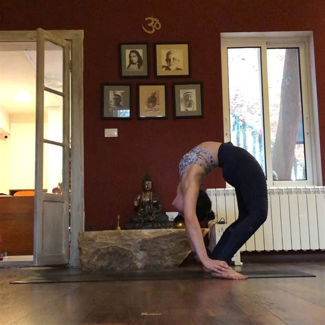 Full wheel pose is getting better. The struggle is to find balance when... (Sarvam Yoga)