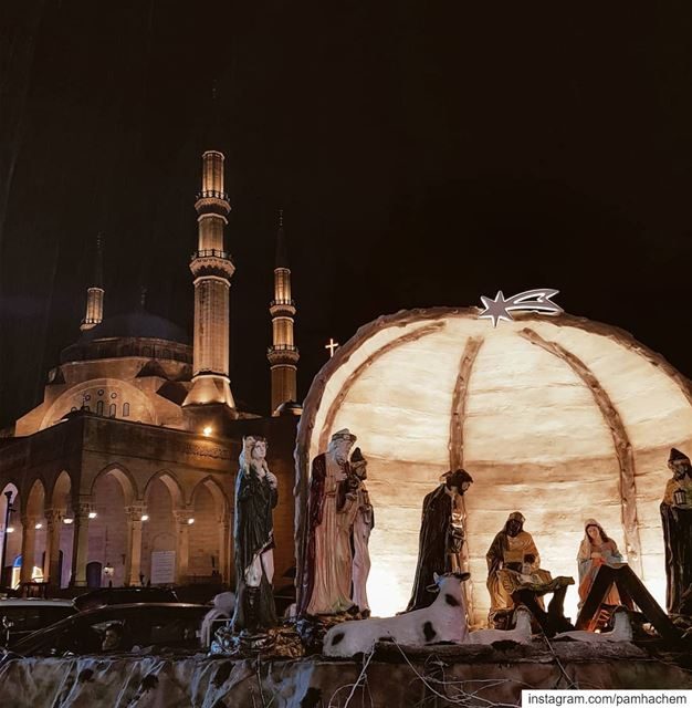 A church and a mosque standing side by side in  Beirut  Christmas2018..... (Beirut, Lebanon)