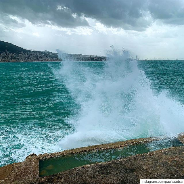 lebanon  lebanon  lebanon🇱🇧  tabarja  waves  sea  coast  storm ... (Casino du Liban)